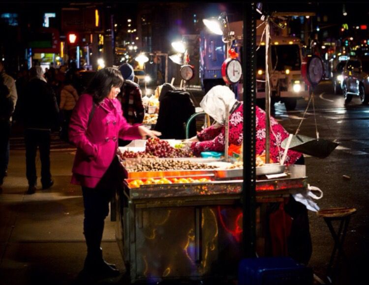 Street market by night | New York City • colourful display of fruits