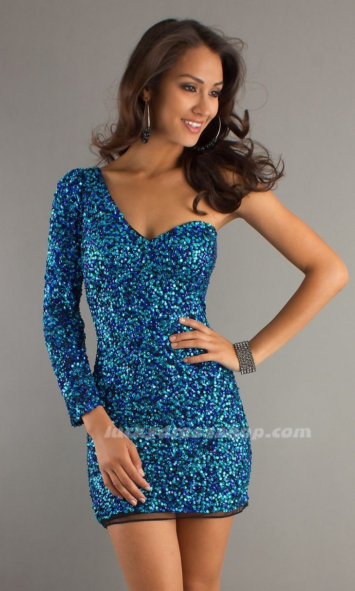 Blue one shoulder shortmini natural sequined prom dress with long