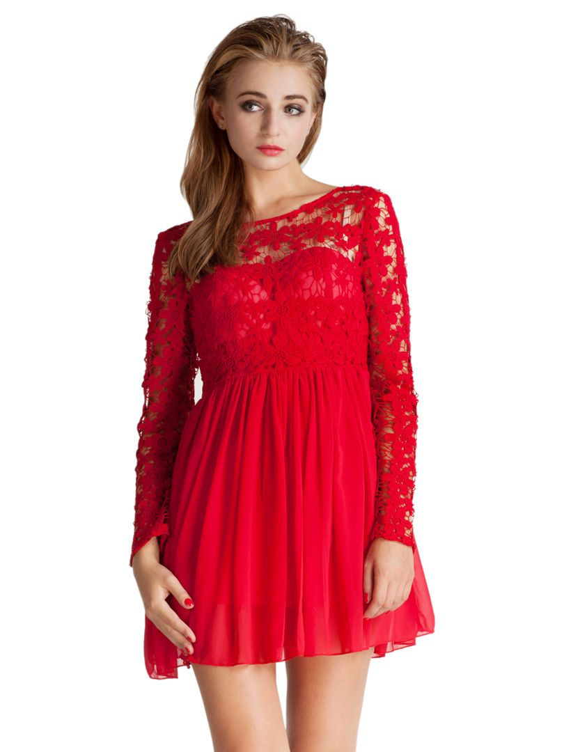 Red lace panel long sleeve backless pleated dress choies i will