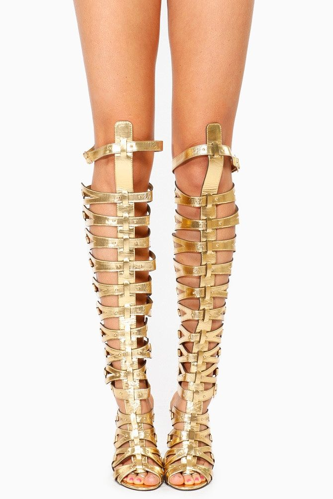 2ed88d07d0a Breckelles Gold Thigh High Gladiator Heels   Cicihot Heel Shoes online  store sales Stiletto Heel Shoes