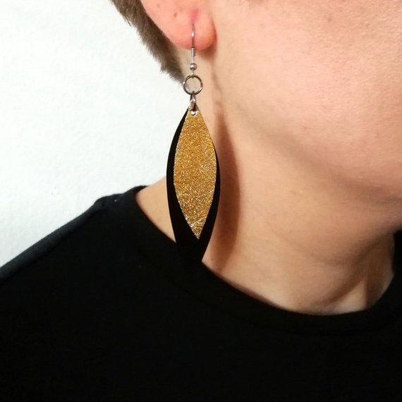 68567befc Black & Gold Leaf Earrings, Leather Leaf Earrings, handmade from leather