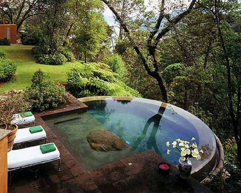 30 Stunning Small Backyard Designs Ideas With Pool Backyardlandscaping Backyardplayhouse Backyar Small Backyard Design Sloped Backyard Small Backyard Pools