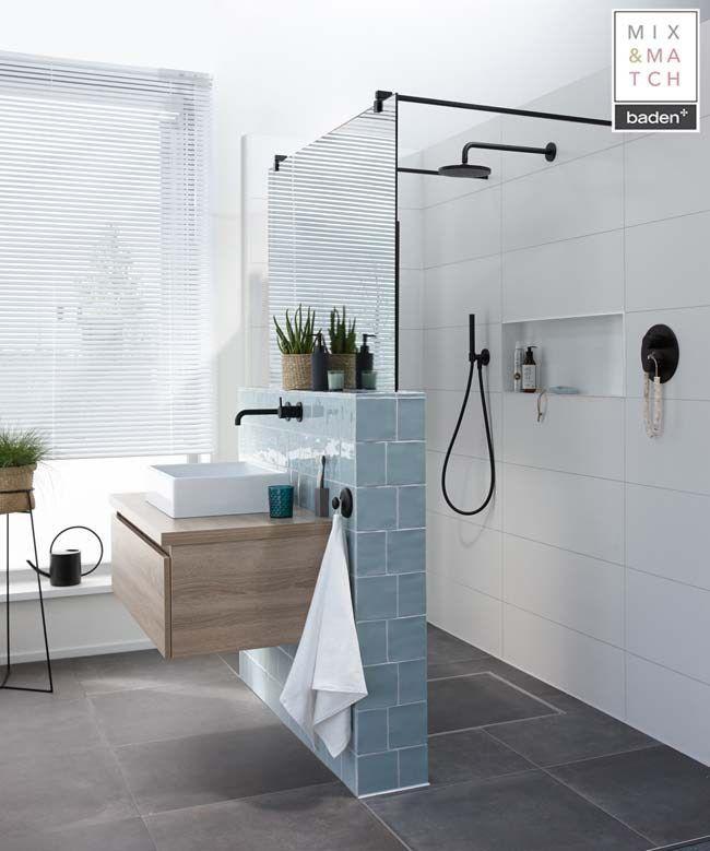 Ruimtelijkheid in een kleine badkamer #badkamerinspiratie