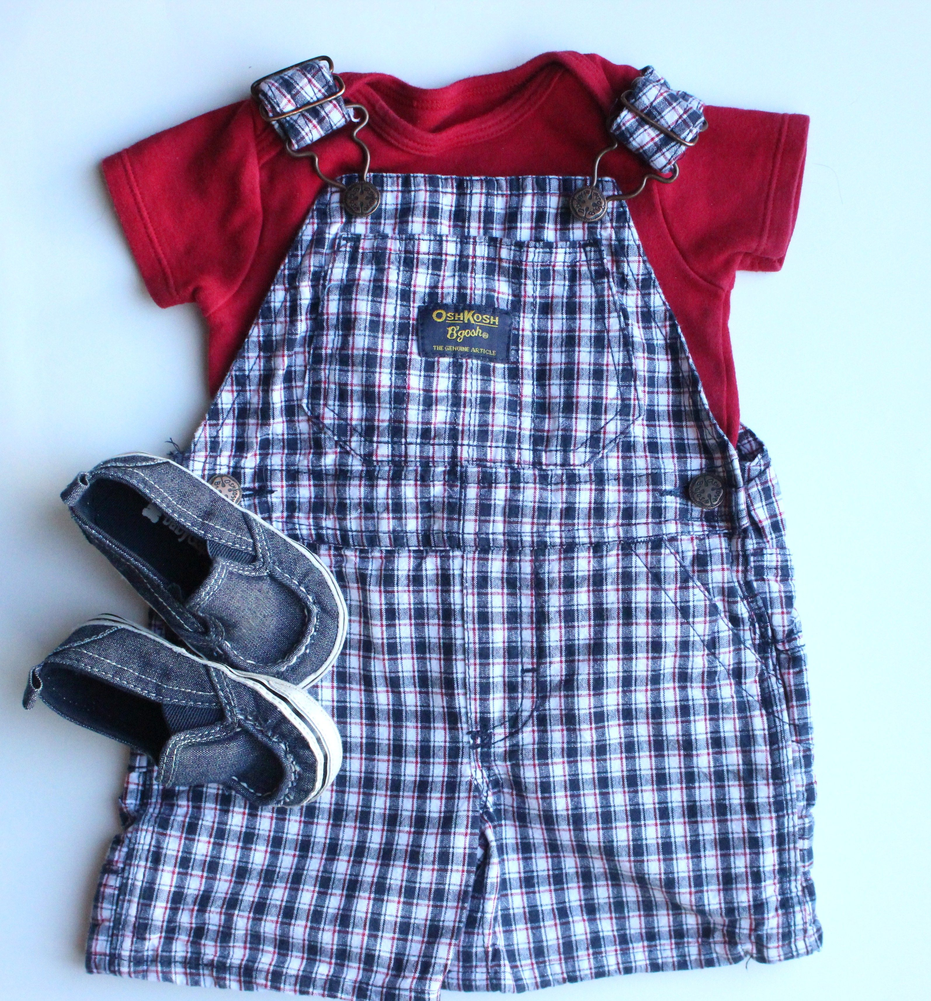 Cute Summer Baby Boy Outfit Osh Kosh Shortalls and Baby Gap Shoes