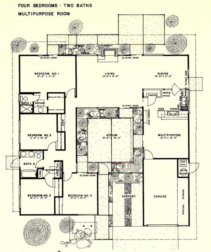 50eeb2bf8b850a3feabf0b752bbbcbd8 Jpg 695 830 Pixels Eichler House Plans Mid Century Modern House Plans Courtyard House Plans