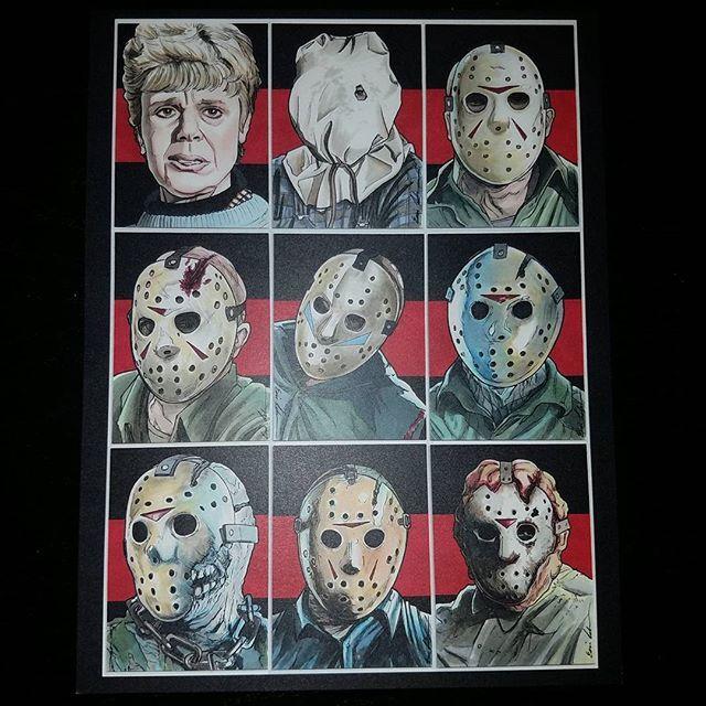 Friday the 13th trading cards print by @darklighter_illustration ! #fridaythe13thart #jasonvoorhees #pamelavoorhees #fridaythe13th #chchchahahah #ohthehorror #horrorfan #horror