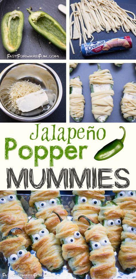 Jalapeño Popper Mummies #halloweenpotluckideas