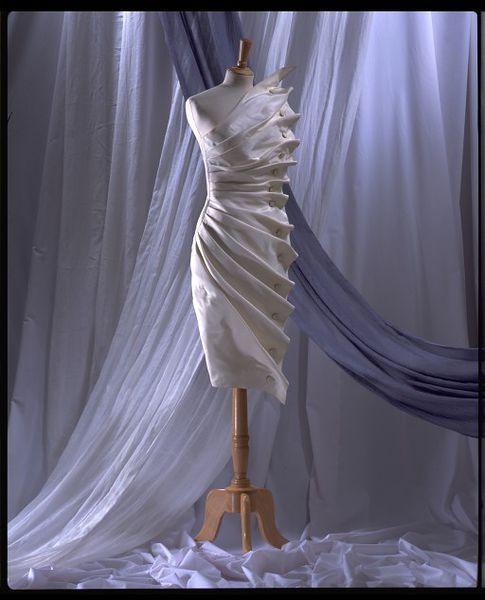 Evening dress 'Bird's Wing' of white silk taffeta, designed by Antony Price, England, 1986