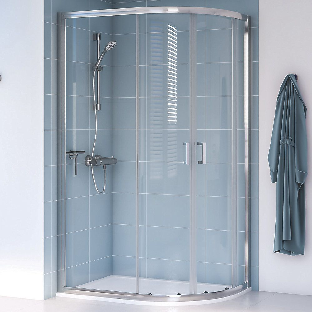 Aqualux Edge 8 Offset Quadrant Shower Enclosure Reversible Left Right Opening Polished Silver 1200 X 800 X 2000mm Quadrant Shower Sliding Shower Door Shower Enclosure Doors