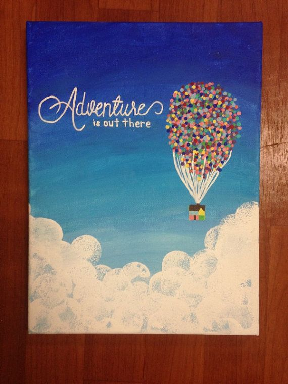 Adventure Is Out There By Createdforthecause On Etsy Canvas Painting Diy Disney Art Diy Diy Painting