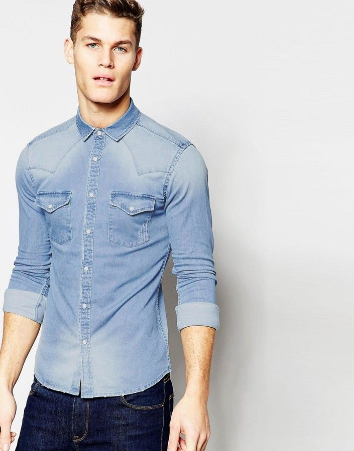 7981c52816a ASOS Skinny Western Denim Shirt In Mid Wash With Long Sleeves ...