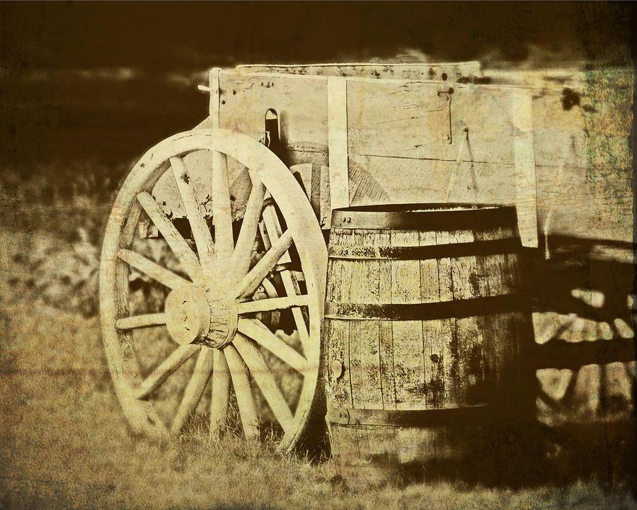 Rustic Wagon And Barrel Photograph  - Rustic Wagon And Barrel Fine Art Print