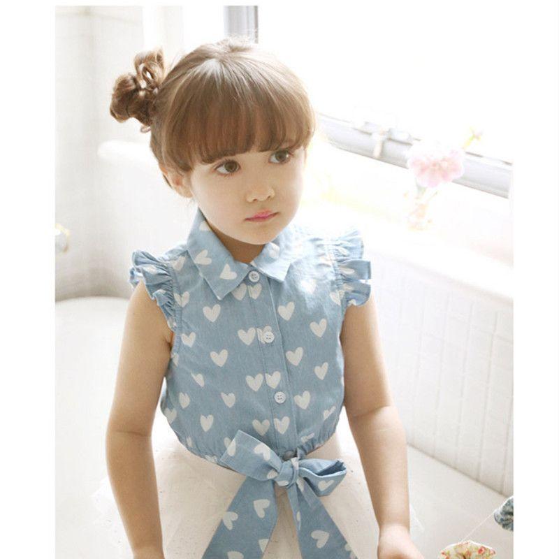 d4991b5926 Moda Jean blusa camisa vaquera para las muchachas de la princesa de punto  de impresión niños blusas y camisas Kids ropa de veran.