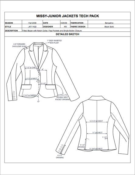 Missy/Junior Design Detail Sheet Sample - Womens, Mens, Childrens
