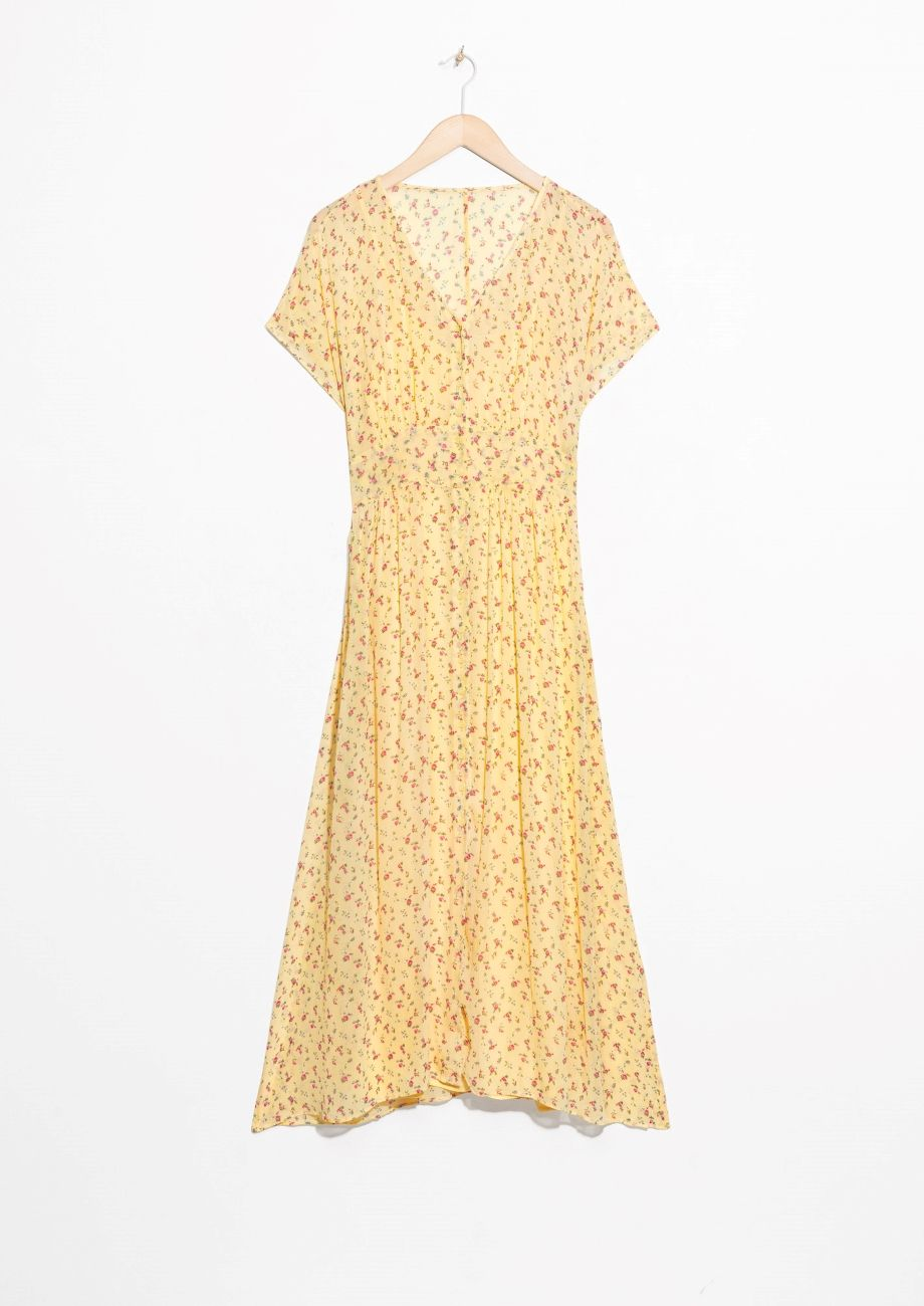 c3b1f673f4dc   Other Stories image 1 of Floral Print Midi Dress in Light Yellow ...