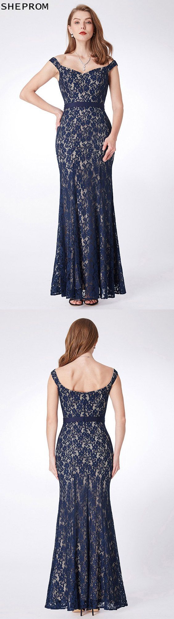 Long mermaid lace navy blue formal dress with off shoulder straps