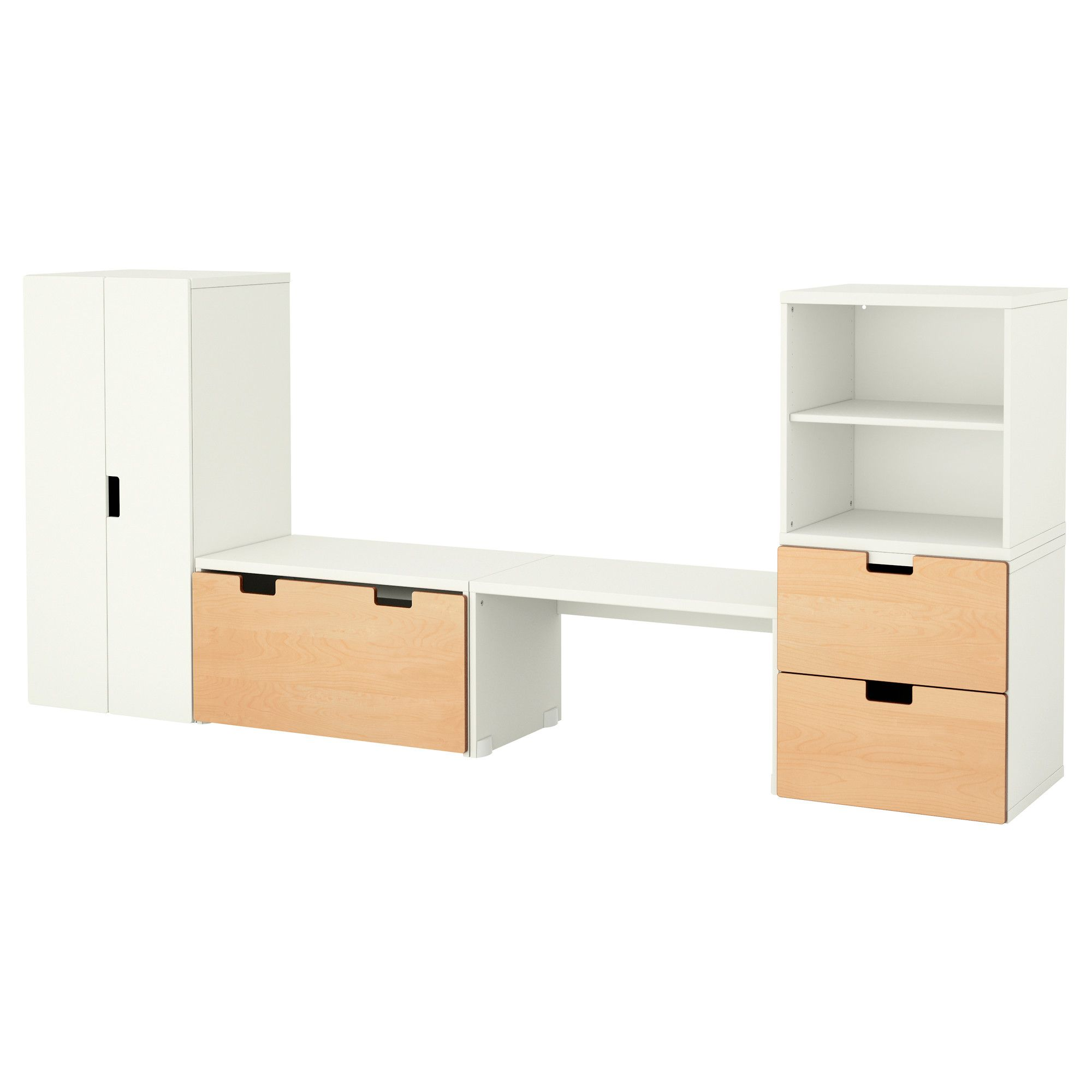 STUVA Storage combination with bench - white/birch - IKEA | Jade\'s ...