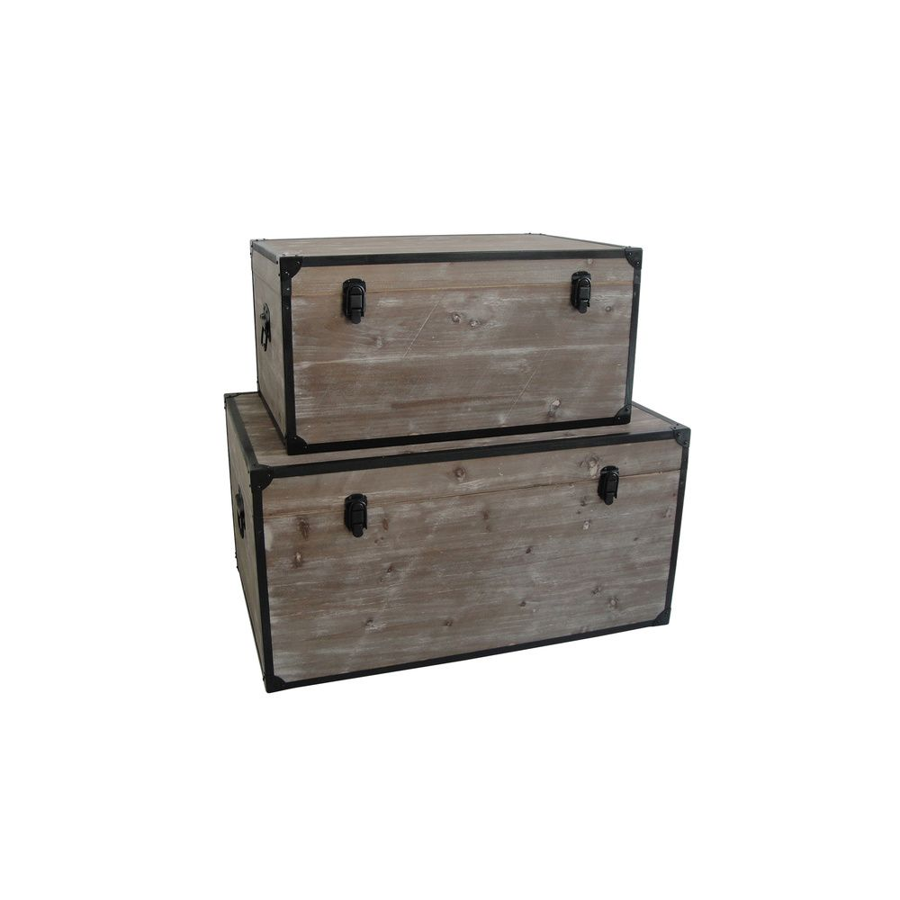 Distressed Wood Industrial Trunks (China) | Overstock.com | LIVE ...