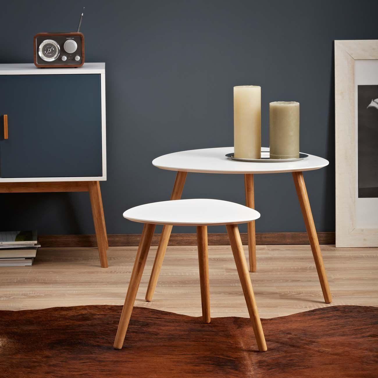 lomos® no.2 beistelltisch (2er-set) in weiß aus holz im modernen, Moderne