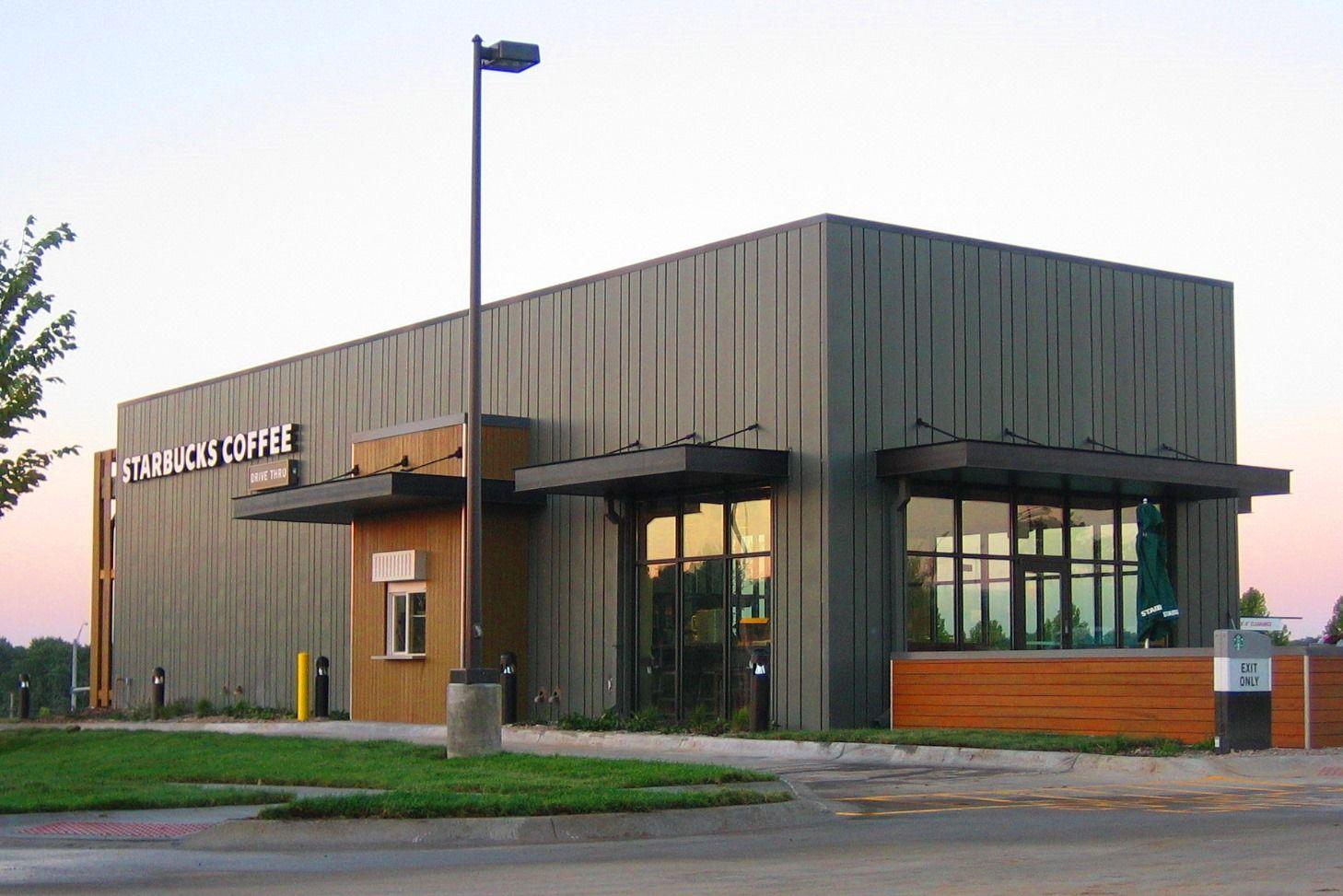 Starbucks coffee omaha ne rheinzink prepatina graphite for Metal building office plans