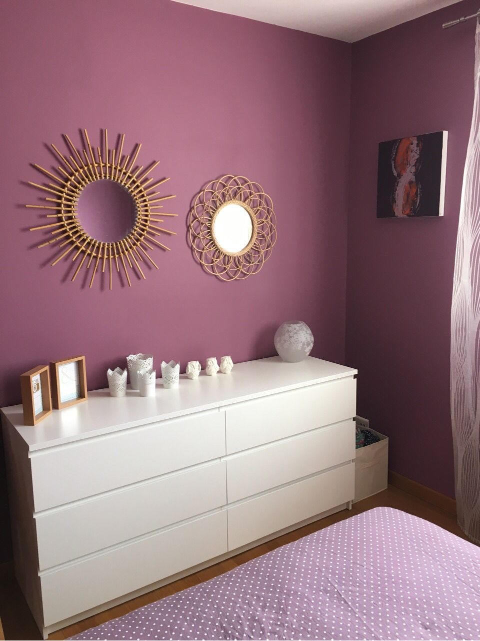 Miroir en rotin  commode Ikea  photophores   My Place   Pinterest     Miroir en rotin  commode Ikea  photophores