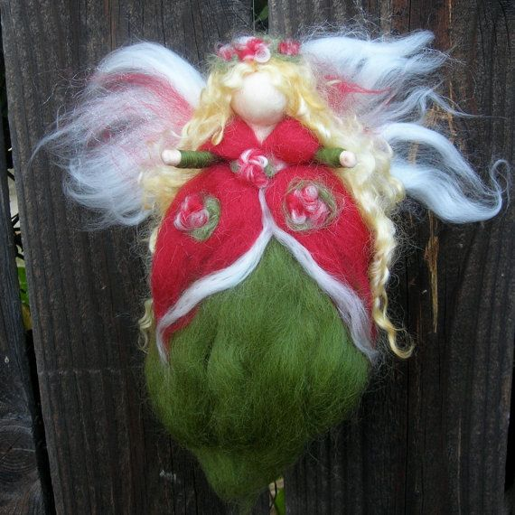 Christmas Angel - Red and Green Holiday Fairy- Needle felted wool fairy Waldorf inspired by Rebecca Varon
