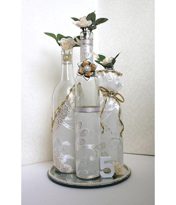 Liquor Bottle Centerpieces: SET(3)- Decorated Wine Bottle Centerpiece Vintage Ivory