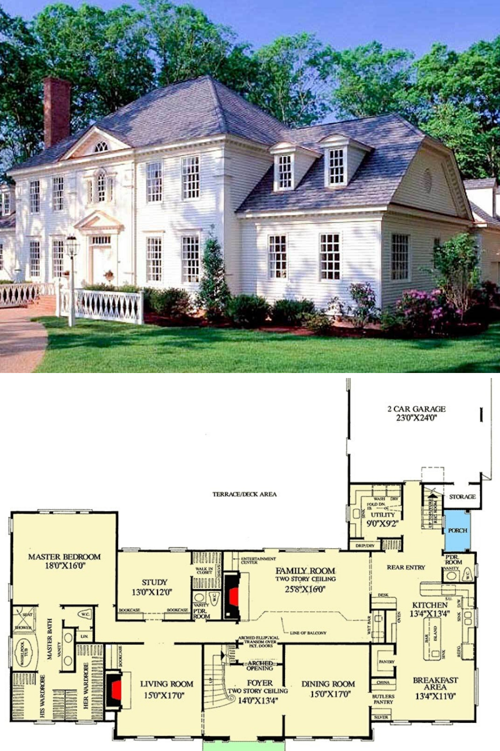 4 Bedroom Two Story Traditional Colonial Home Floor Plan Colonial House Plans Colonial House Southern House Plans