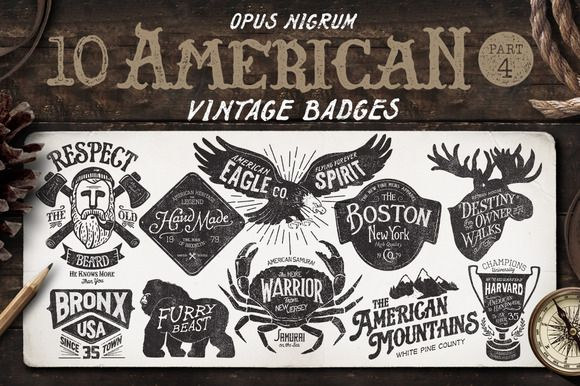 American Vintage Badges Part 4 | Badges, Logos and Logo templates
