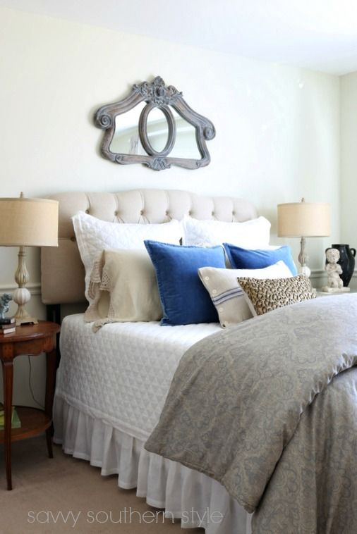French blue and grey by savvy southern style bedrooms for Southern style bedroom
