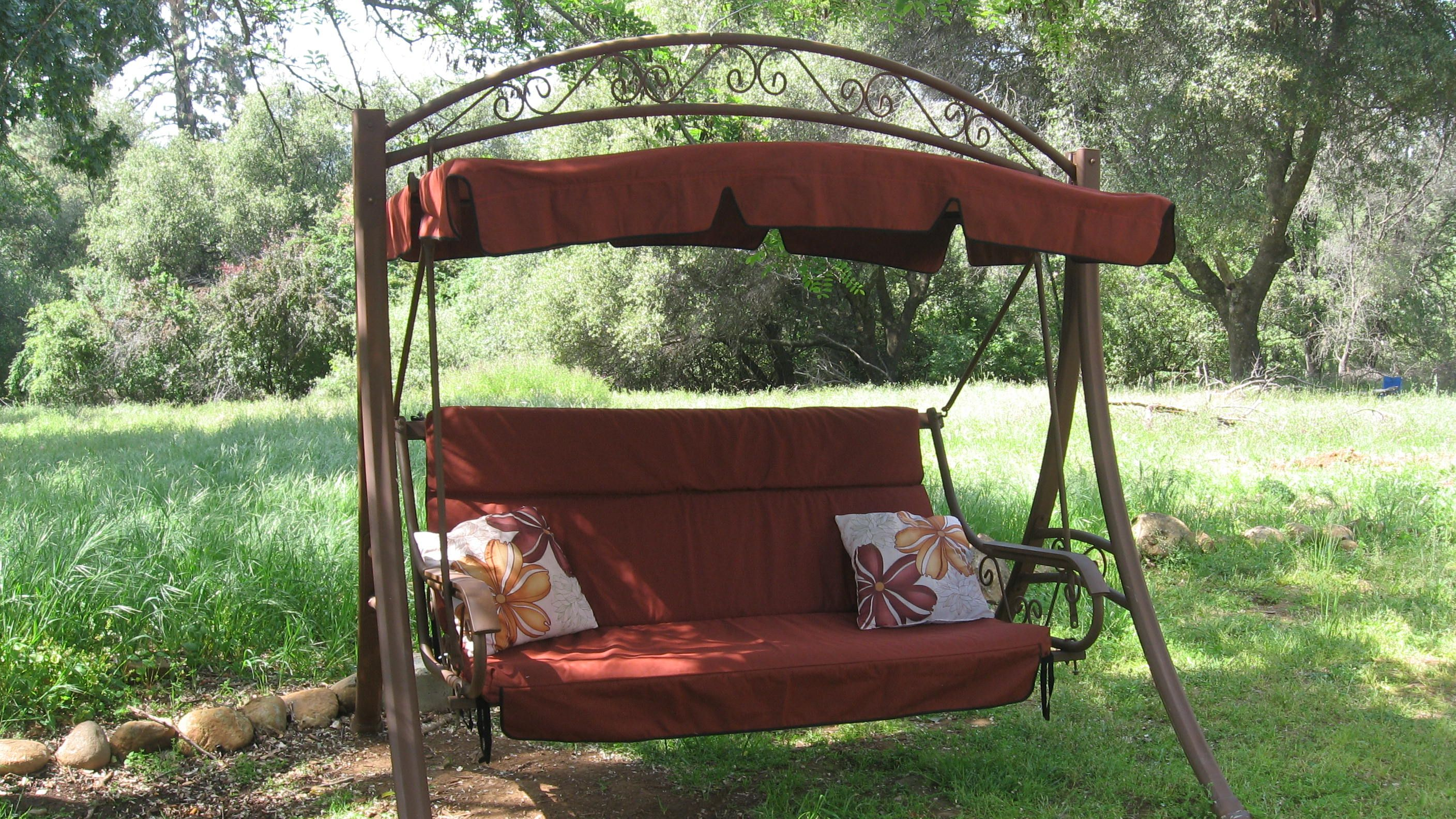 Costco Patio Swing in Tresco Brick Canopy 179 and Cushion Covers