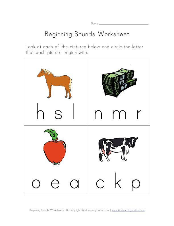 free printable phonics sounds worksheets for kids – Initial Sound Worksheets for Kindergarten