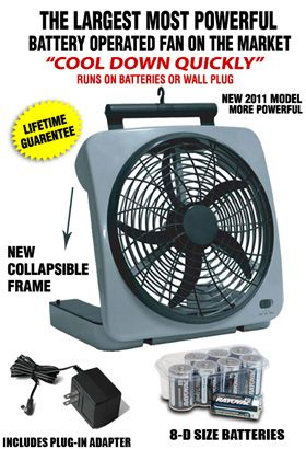 Large 10 Ac Dc Battery Operated Fan Batterysavers Com Battery Operated Camping Essentials Fan
