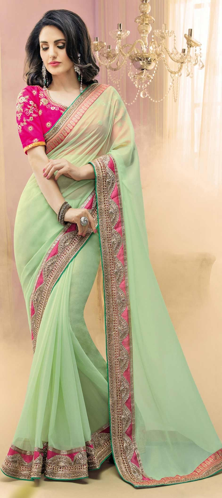 4665cb87c5 755734 Green color family Embroidered Sarees, Party Wear Sarees in Faux  Georgette, Shimmer fabric with Border, Machine Embroidery, Stone, Thread,  ...