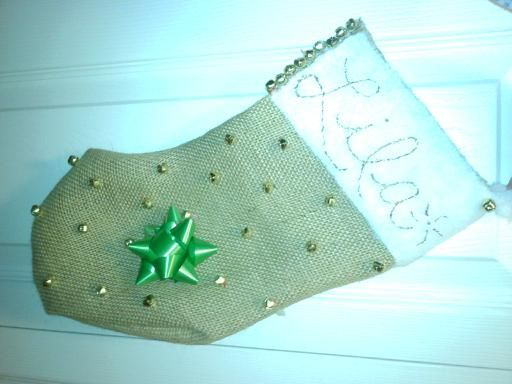 Homemade stocking for my cat, Lila; made from burlap! She loves those little bells!