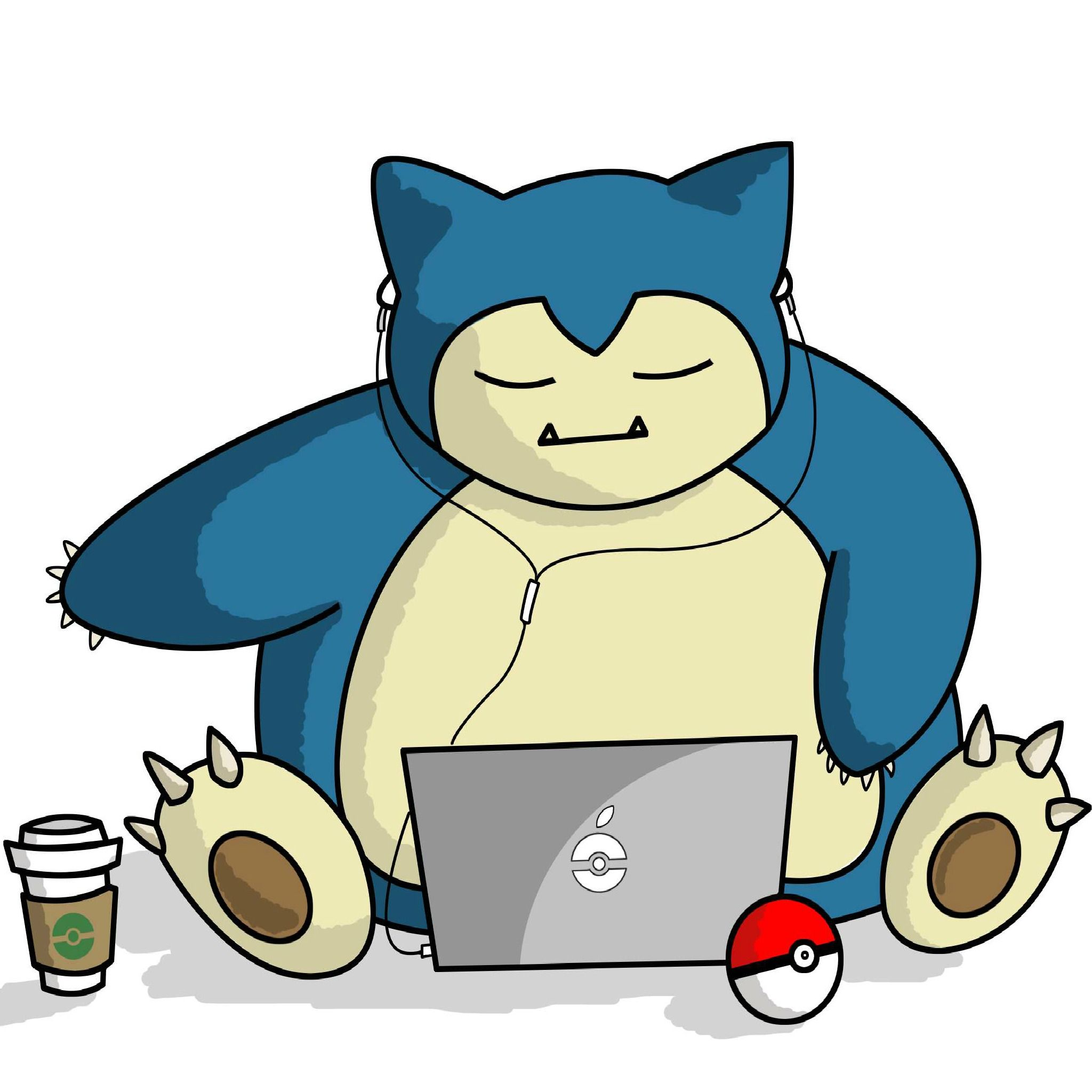 Snorlax With Laptop Tap To See More Pokemon