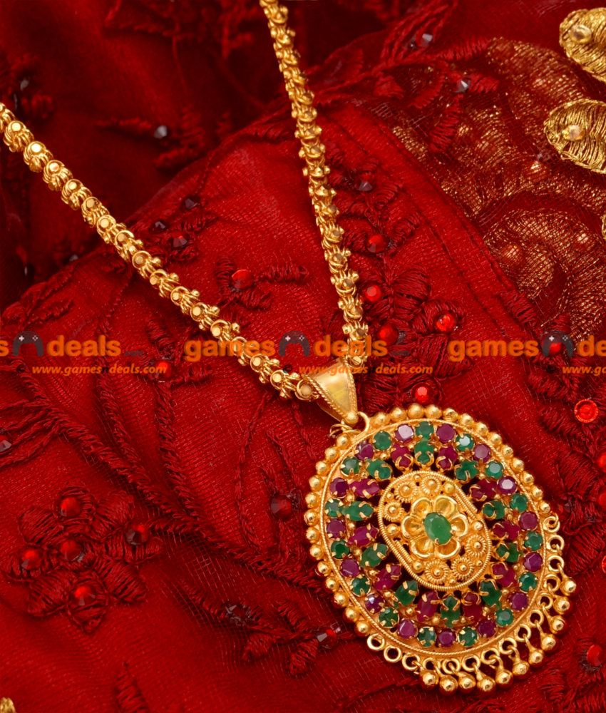Bgdr22southindiantradiationalrubypendantgoldplated
