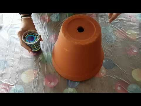 Pour Onto Terracotta Pot With Iridescent Medium Added With