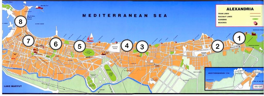 alexandria corniche waterfront promenade map with numbered locations