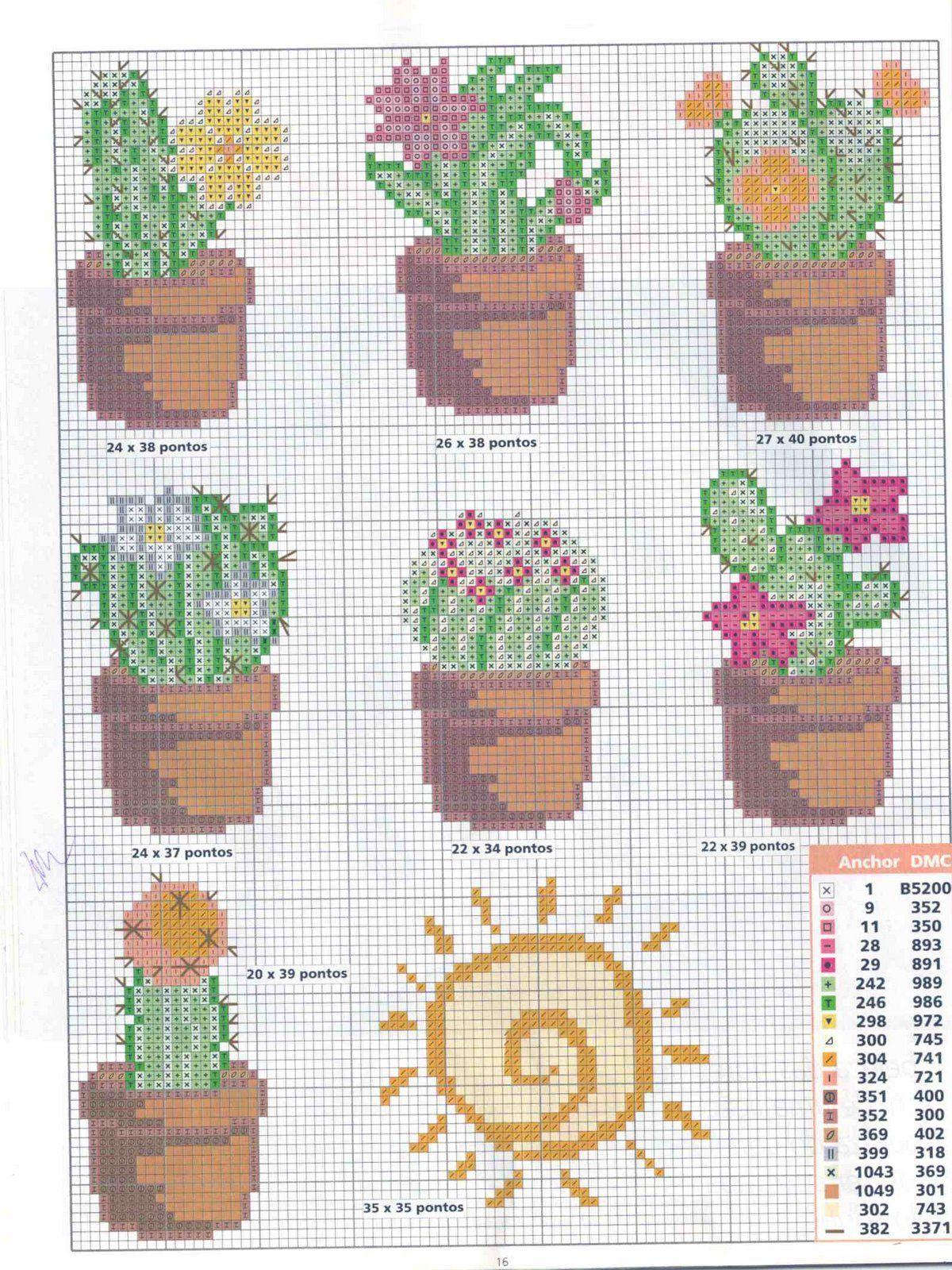 Con Punto de cruz: Cactus en punto de cruz | cuadros | Punto de cruz ...