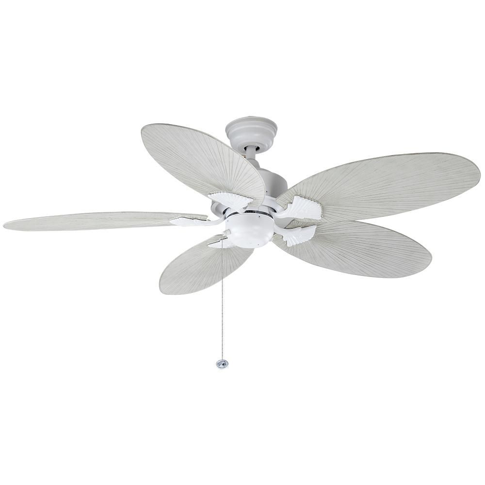 Hampton Bay Lillycrest 52 In Indoor Outdoor Matte White Ceiling Fan 32718 The Home Depot White Ceiling Fan Hampton Bay Ceiling Fan