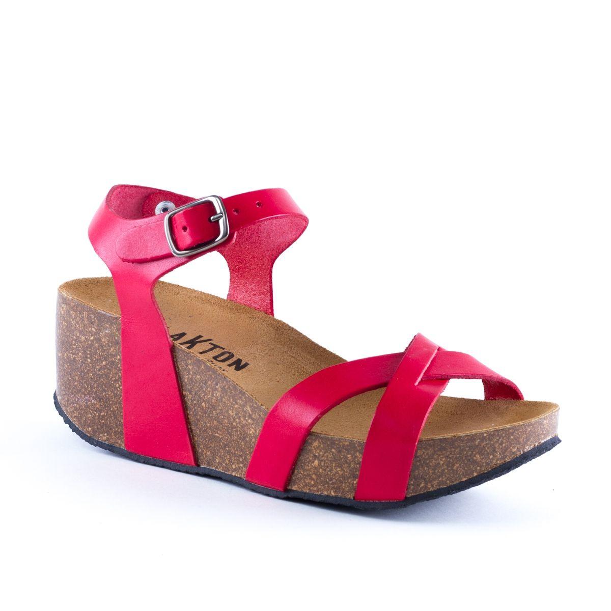 Sandale Bio Sandale pour Femme Rouge: : Chaussures