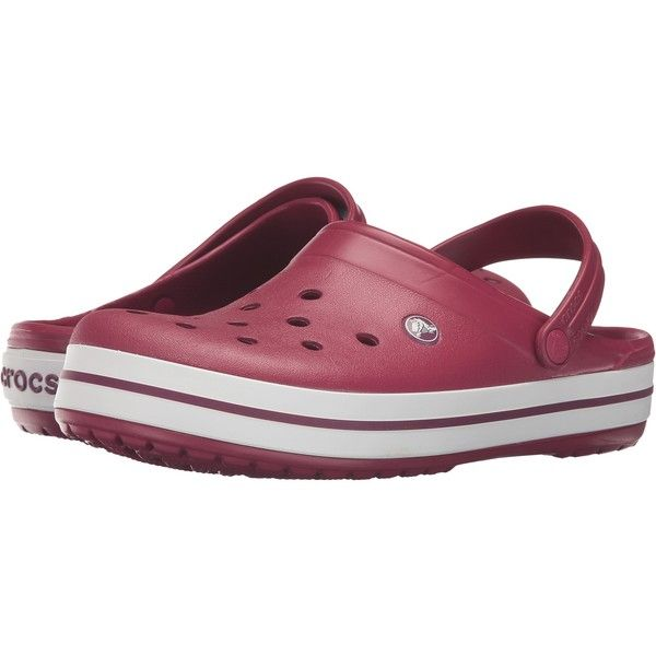 aa71398dda7db8 Crocs Crocband (Pomegranate White) Clog Shoes (668.865 VND) ❤ liked on  Polyvore featuring shoes