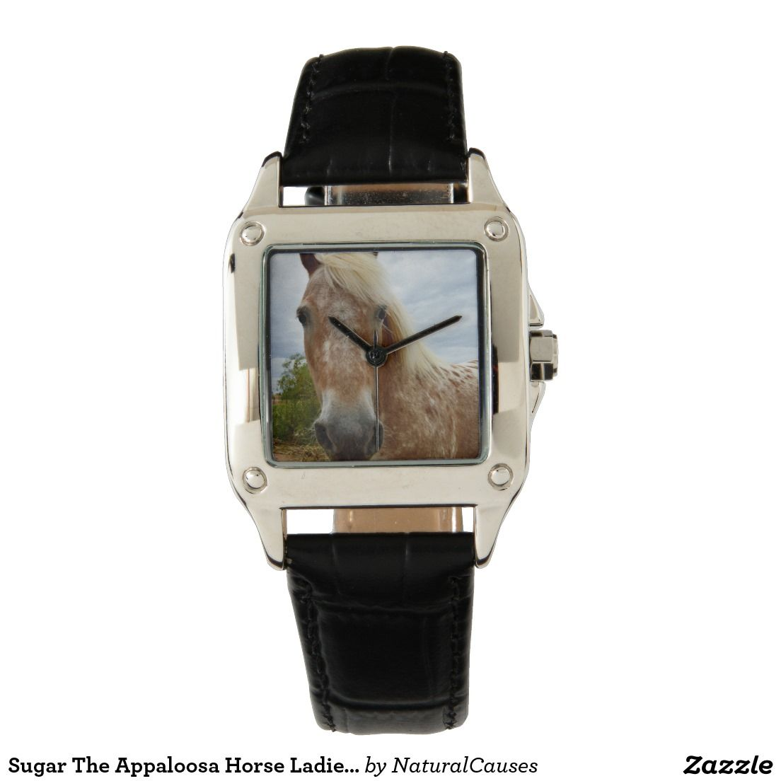 #Horse #Watch #Appaloosa #Face #Ladies #Leather #Pretty #Animal #Pet #Fashion #Accessory #Birthday #Gift #Idea, Sugar The Appaloosa Horse Ladies Leather Watch