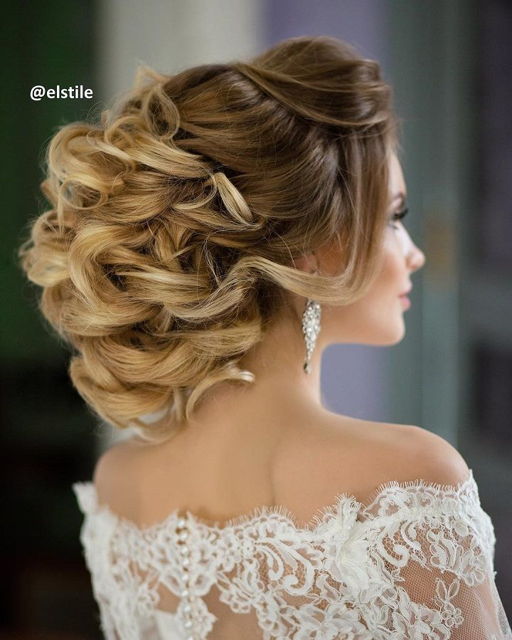 curly wedding hairstyles for medium length hair | Bridal hairstyle for curly