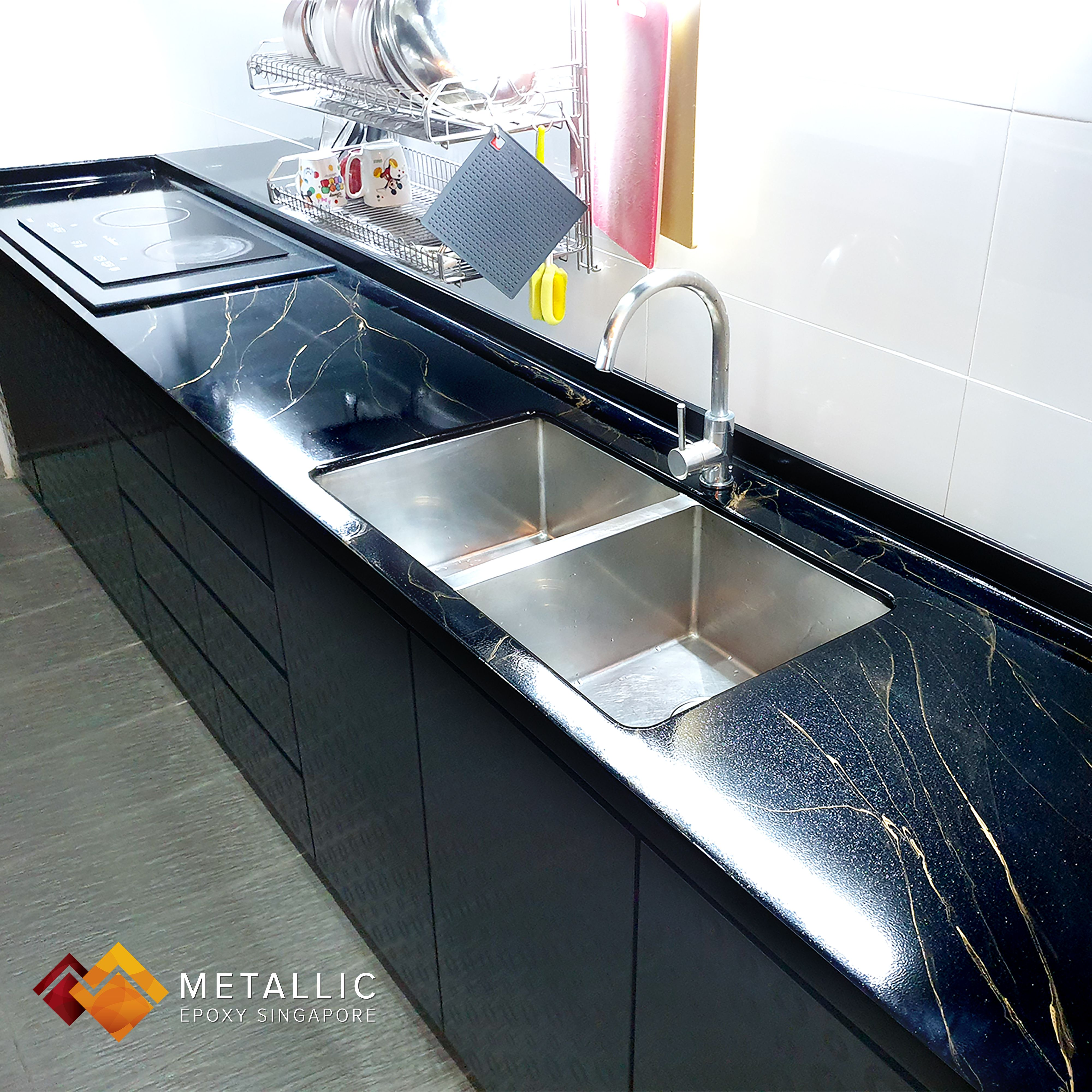 A Beautiful New Look For This Home With A Pure Metallic Black Countertop Coating With Gold Veins For The Luxurious Marble Feel A Touch Of Liquid Diamond Gives