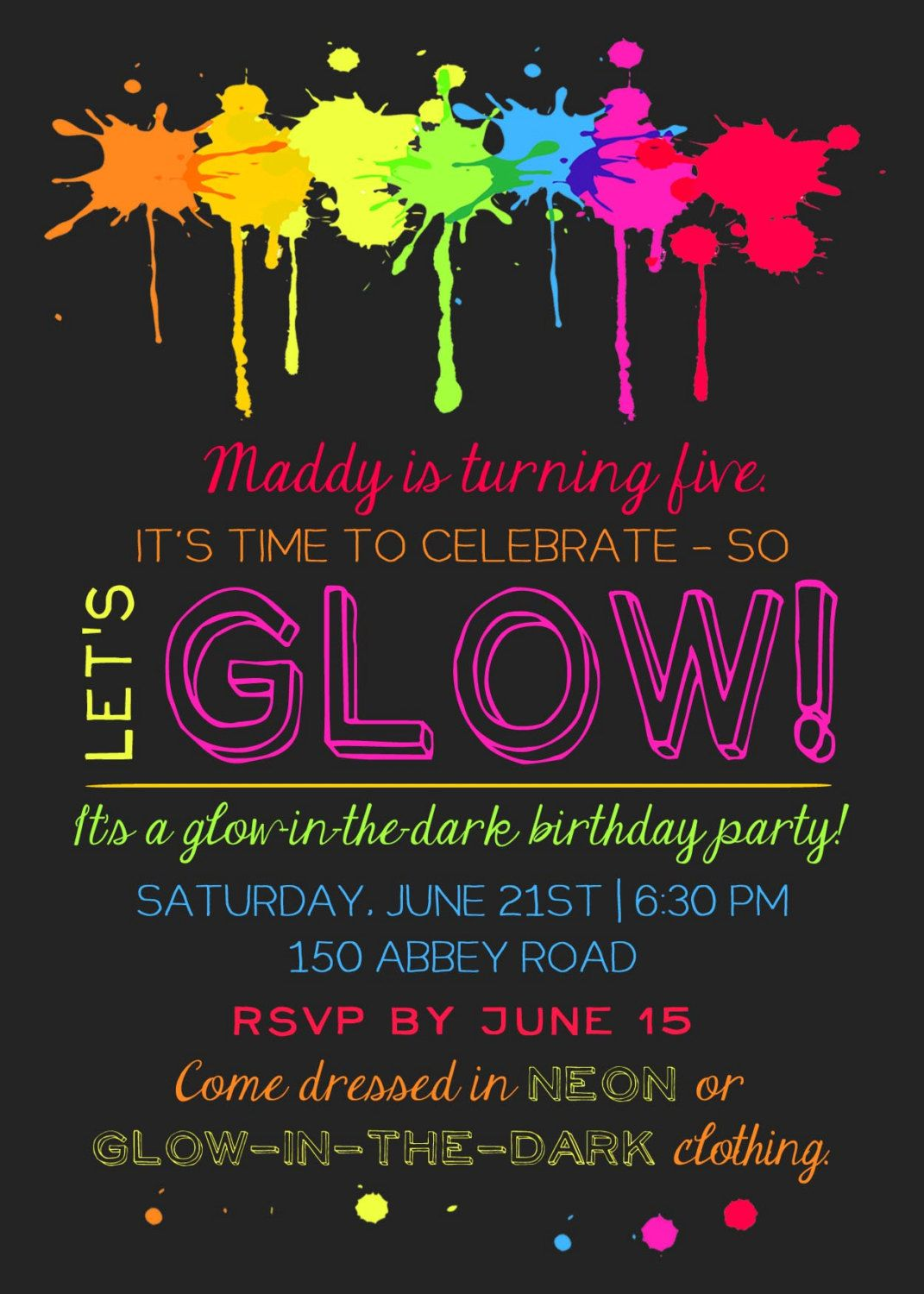 Printable Glow In The Dark Theme Party Invitation | Party ...