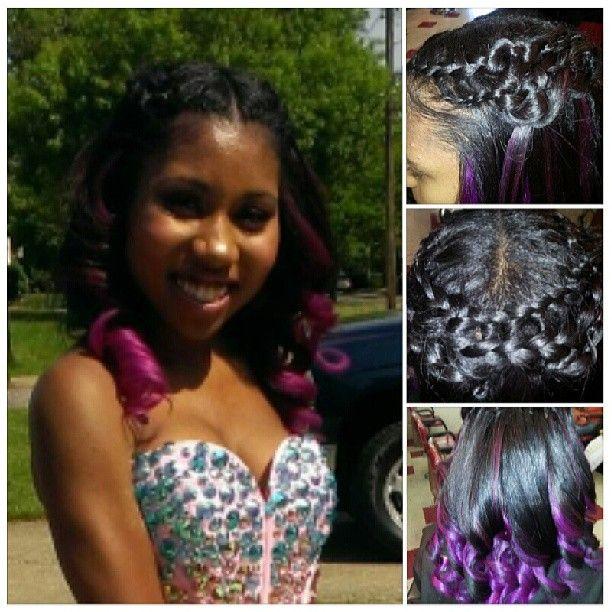 cute two-tone hair with big curls