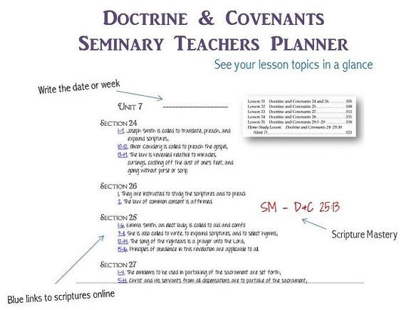 Seminary Teacher's Planner Summary of Chapters by OldfieldDesigns