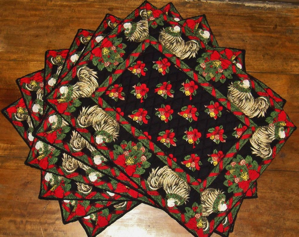 Vera Bradley Hens N Holly 6 Holiday Christmas Placemats Black With ...